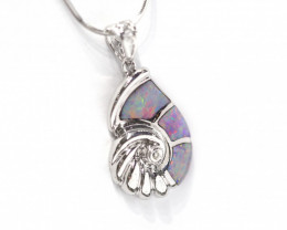 Inlay Opal 925 Silver Rhodium Plated Pendant [CP77]