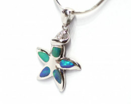 Inlay Opal 925 Silver Rhodium Plated Pendant [CP75]