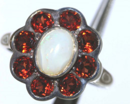 20.35 CTS WHITE OPAL SILVER RING OF-2613