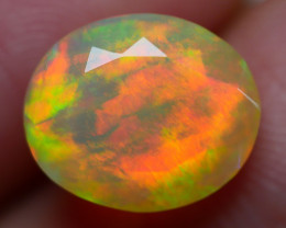 3.00 CRT GORGEOUS FACETED BROAD STIPE FIRE WELO OPAL