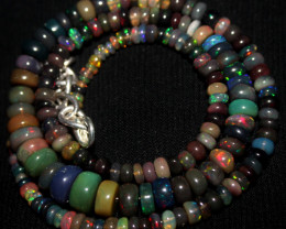 55 Crt Natural Ethiopian Welo Smoked Opal Beads Necklace 151