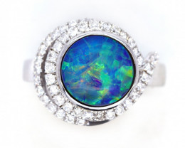 18K GOLD BLACK OPAL RING GOLD AND DIAMOND [CR01]