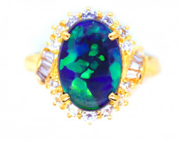 18K GOLD BLACK OPAL RING GOLD AND DIAMOND [CP02]