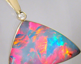 Rare Large Natural Opal & Diamond Pendant Jewelry 17.9ct Inlay Gift Gem #B3