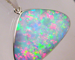 Large Australian Opal Pendant Stunning Pink Aqua Silver Jewelry 9.7ct Gift