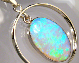 Rare Australian Solid Opal Pendant 14k White Gold Jewelry 11.8ct Gem Gift #