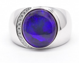 SILVER BLACK OPAL RING Rhodium Plated [CR10]