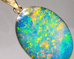 Genuine Australian Opal & Diamond Pendant Inlay Jewelry 14k Gold 10ct Oval