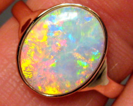 Solid Opal Ring Natural Australian Gemstone 14k Rose Gold Size 7 Rare Gem #