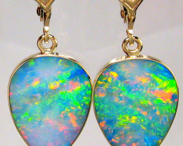Opal Earrings 14k Gold Natural Australian Dangle Jewelry Gems Gift 10.7ct #