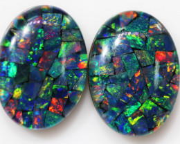 18.50 CTS 18 X 13 MM  LARGE  MOSAIC TRIPLET PAIR. [REL2]