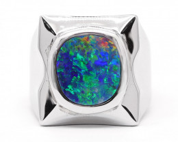 925 ST/ SILVER RHODIUM PLATED DOUBLET OPAL RING [CR05]