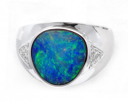 925 ST/ SILVER RHODIUM PLATED DOUBLET OPAL RING[CR06]