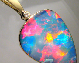 Rare Large Natural Opal & Diamond Pendant Jewelry 18.7ct Inlay Gift Gem #B3