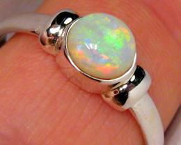 Australian Opal Ring Solid Crystal Sterling Silver 1.8g Genuine Natural Gif