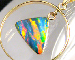 Rare Australian Opal Pendant 14k Gold Genuine Natural Jewelry 8.25ct Gift B