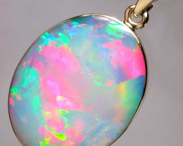 Australian Opal Pendant 6.8ct 14k Gold Authentic Genuine Inlay Jewelry Gift