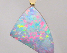 Genuine Australian Opal Pendant 14k Gold Natural Gem Gift Necklace 5.2ct #8