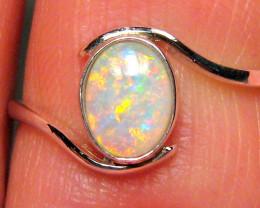 1.4g Sterling Silver Genuine Natural Australian Opal Ring Solid Gem Crystal