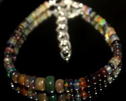 21 Crts Natural Welo Smoked Opal Beads Bracelet 629