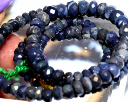 54.20CTS  L RIDGE BLACK OPAL FACETED BEADS STRAND TBO-9574