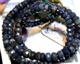 55.30CTS  L RIDGE BLACK OPAL FACETED BEADS STRAND TBO-9576