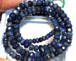 56.35CTS  L RIDGE BLACK OPAL FACETED BEADS STRAND TBO-9579