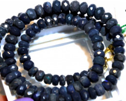 88.0 CTS  L RIDGE BLACK OPAL FACETED BEADS STRAND TBO-9581