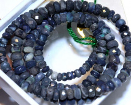 53.75CTS  L RIDGE BLACK OPAL FACETED BEADS STRAND TBO-9582