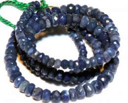 55.40CTS  L RIDGE BLACK OPAL FACETED BEADS STRAND TBO-9585