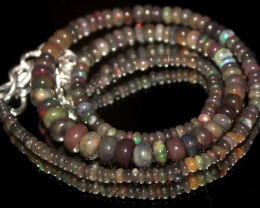 45 Crts Natural Ethiopian Welo Smoked Opal Beads Necklace 15
