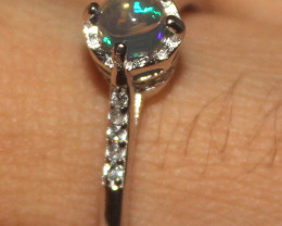 Natural Ethiopian Welo Opal 925 Silver Ring Size (8.5 US) 97