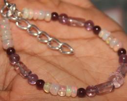 30 Crts Natural Opal,Garnet,Rose Quartz & Amethyst Bracelet 616