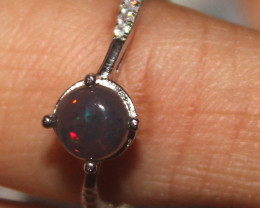 Natural Ethiopian Welo Smoked Opal 925 Silver Ring Size (9 US) 98