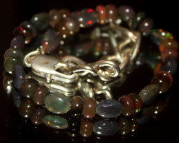 24 Crts Natural Welo Smoked Opal Beads & Nuggets Bracelet 637