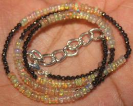 26 Crt Natural Ethiopian Welo Opal & Pyrite Beads Necklace 30