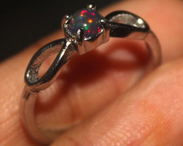 Natural Ethiopian Welo Smoked Opal 925 Silver Ring Size (7 US) 104