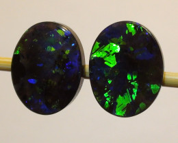 2.98 ct Stunning Gem Blue Green Color Queensland Boulder Opal Pair