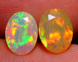 8X6 MM BROAD PATCHWORK!! ETHIOPIAN FACETED OPAL PAIR -ECF621