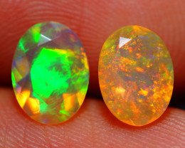 8X6 MM BROADFLASH FIRE!! ETHIOPIAN FACETED OPAL PAIR -ECF624