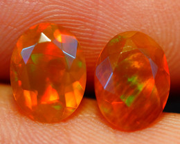 8X6 MM BROWN BASE NEONFLASH!! ETHIOPIAN FACETED OPAL PAIR -ECF626