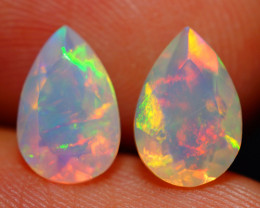 9X6 MM BROADFLASH FIRE!! ETHIOPIAN FACETED OPAL PAIR -ECF633