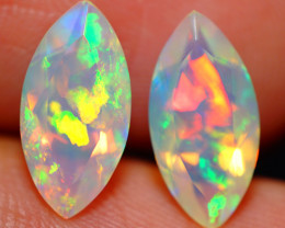 2.64CT 12X6MM PATCHWORK!! ETHIOPIAN FACETED OPAL PAIR -ECF645