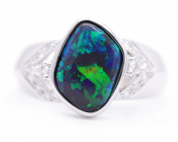 18K GOLD BLACK OPAL RING GOLD AND DIAMOND [CR16]