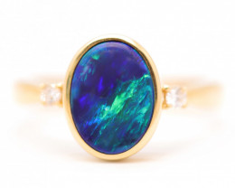 14K GOLD BLACK OPAL RING GOLD AND DIAMOND [CR13]