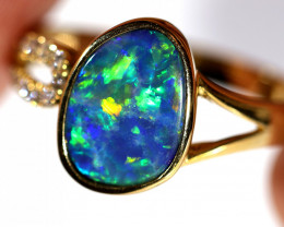 18K GOLD DOUBLET OPAL RING GOLD AND DIAMOND [CR14]