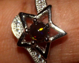 Natural Ethiopian Welo Smoked Opal 925 Silver Ring Size (7.5 US) 90