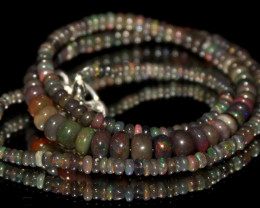 42 Crts Natural Ethiopian Welo Faceted Opal Beads Necklace 163