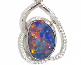 925 ST/ SILVER RHODIUM PLATED OPAL DOUBLET PENDANT [CP83]