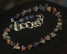 10 Crts Natural Welo Uncut Smoked Opal & Lapis Lazuli Bracelet